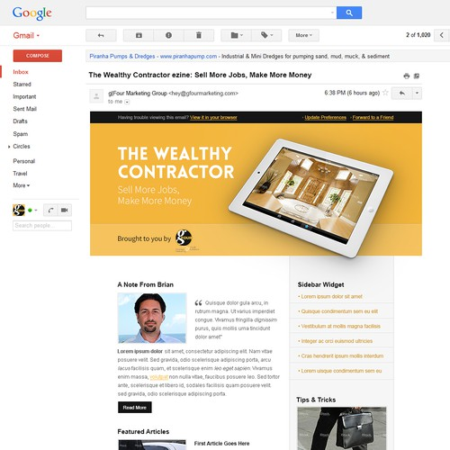 Create a High End Email Template for The Wealthy Contractor ezine
