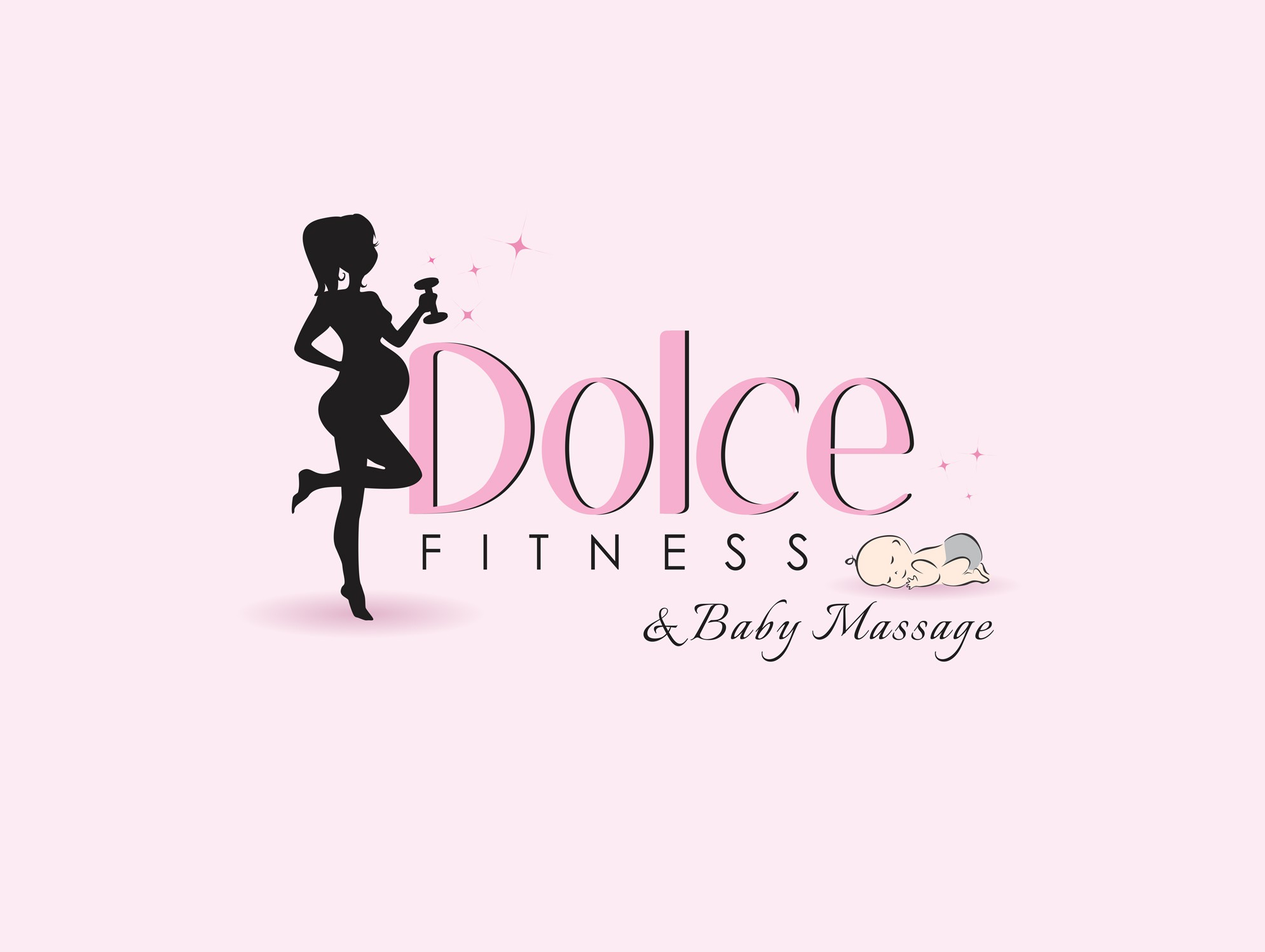 Stylish logo inviting mums to the world of fitness, child fitness & to the magic of baby massage!