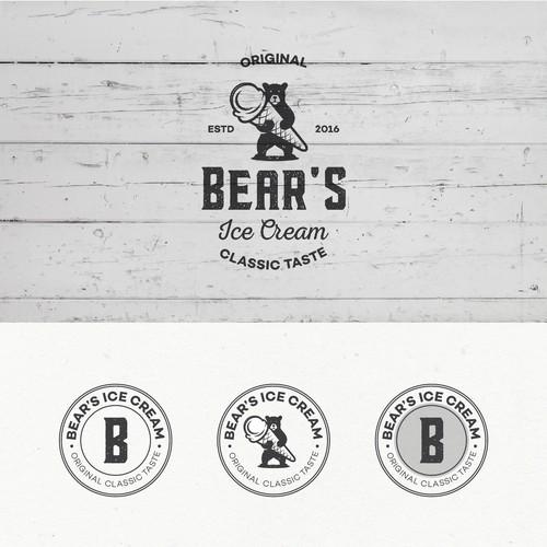 Logo design for Bear's Ice Cream.