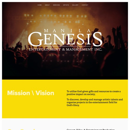 Manila Genesis | Website for an Entertainment and Management Agency