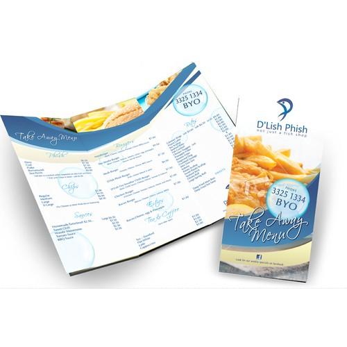 brochure design for D'Lish Phish Menu Trifold