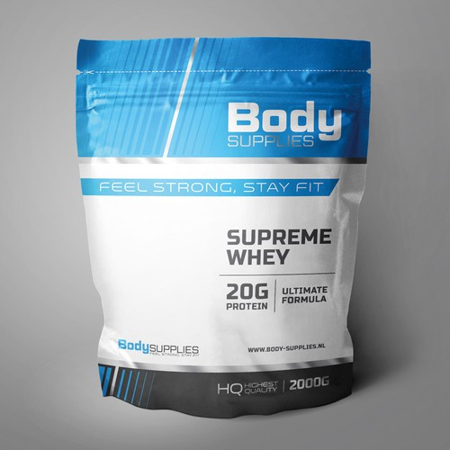 Design of a pouch for sport supplements.