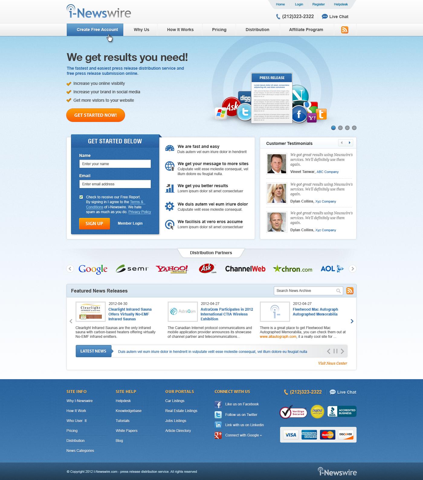 Create a BETTER Website Design for I-Newswire.com