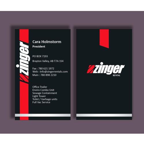 Business Card for Zinger Rentals