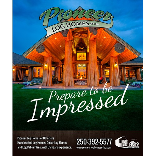 Magazine Ad Design showcasing our luxury log homes