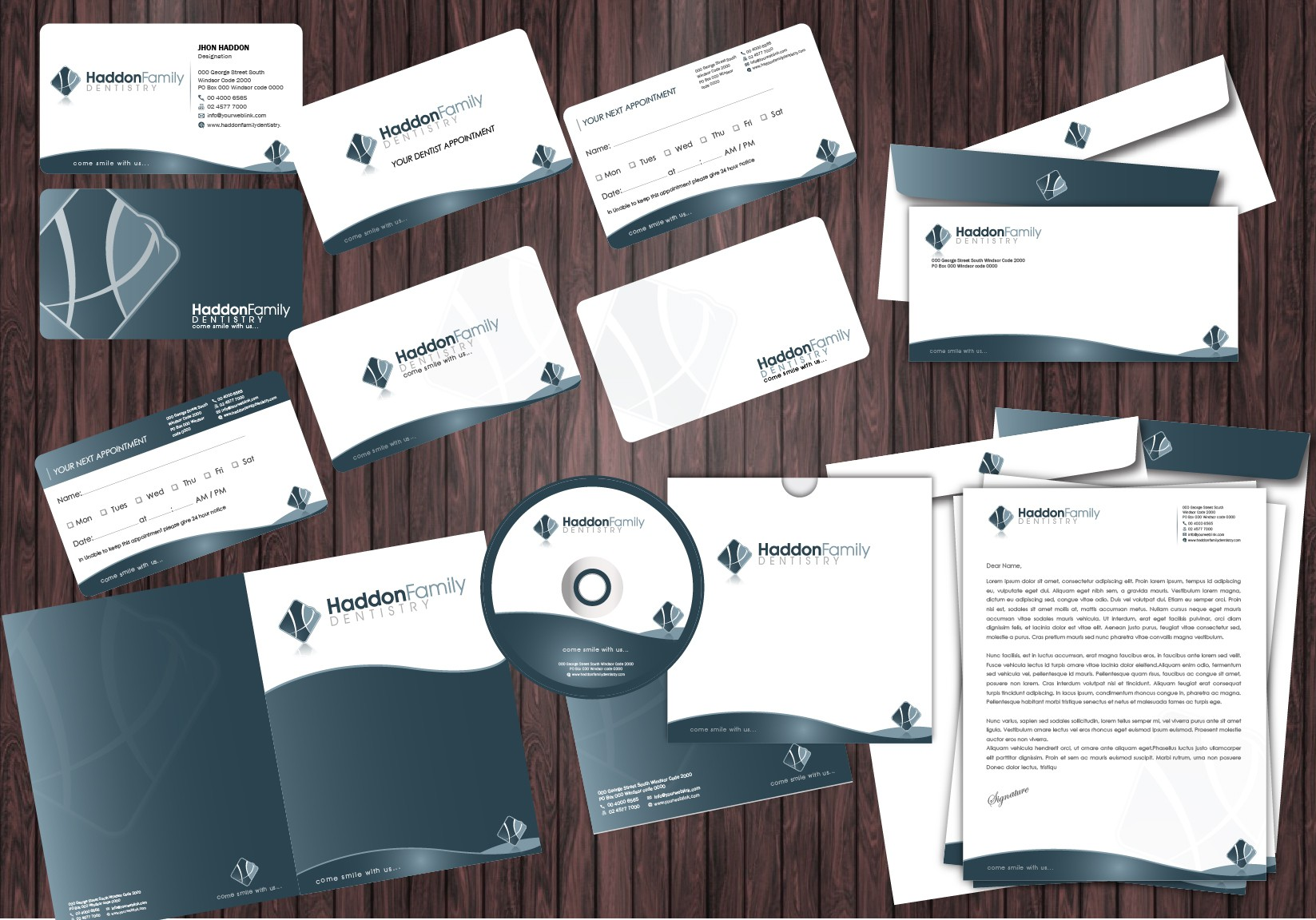 stationery for Haddon Family Dentistry