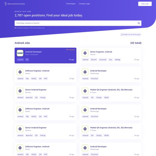 Simple website for job posts