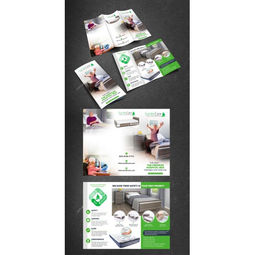 Design SonderCare's tri-fold brochure promoting a luxury hospital bed for home use
