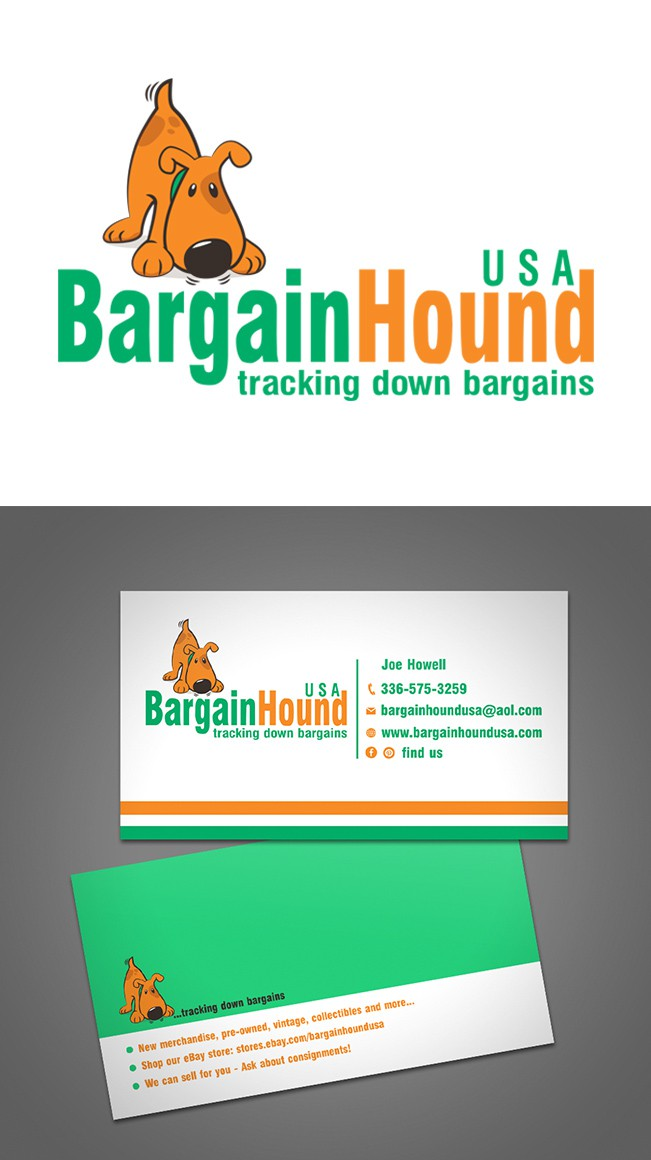 Create a logo and card to explain our business & attract buyers to Bargain Hound USA