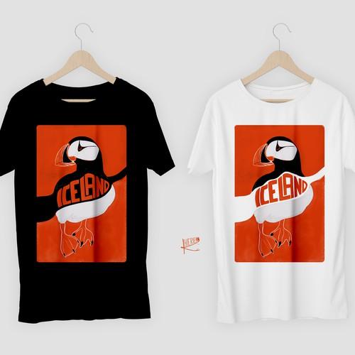 Split orange design for Iceland Tourism
