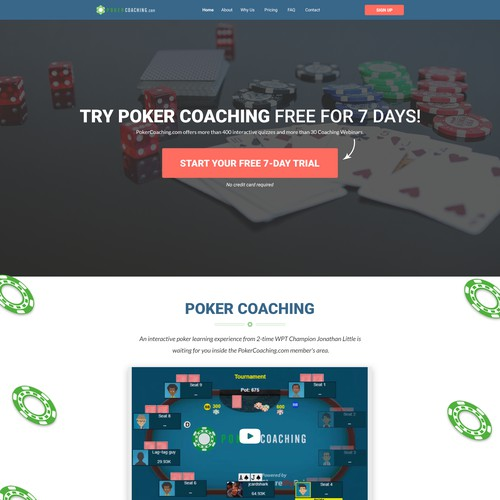 Design the new home page for PokerCoaching.com