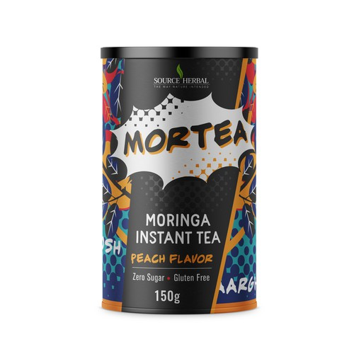 Moringa Instant Tea package label that needs to pop off the shelves