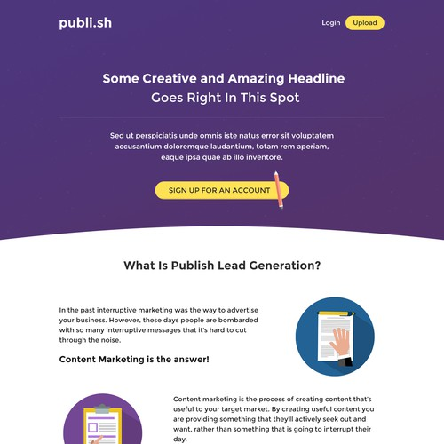 Concept for content marketing website