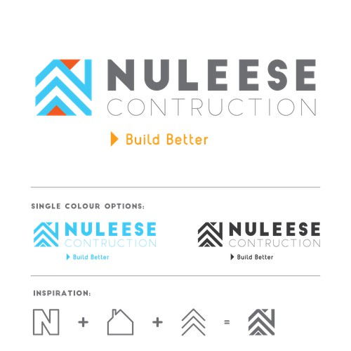 Bold & confident logo concept for Nuleese Construction.