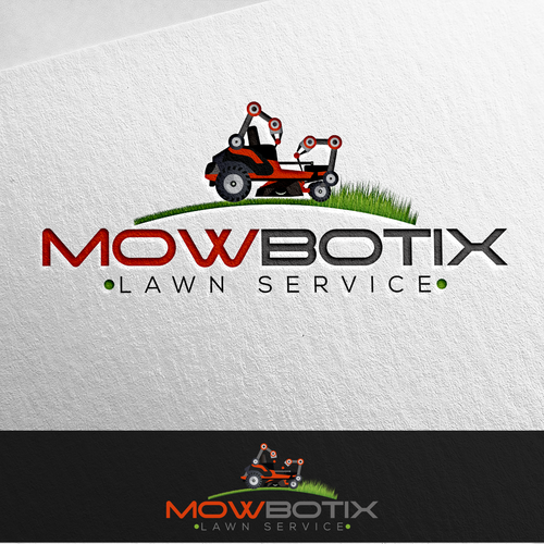 Logo and business card for the company MowBotix.