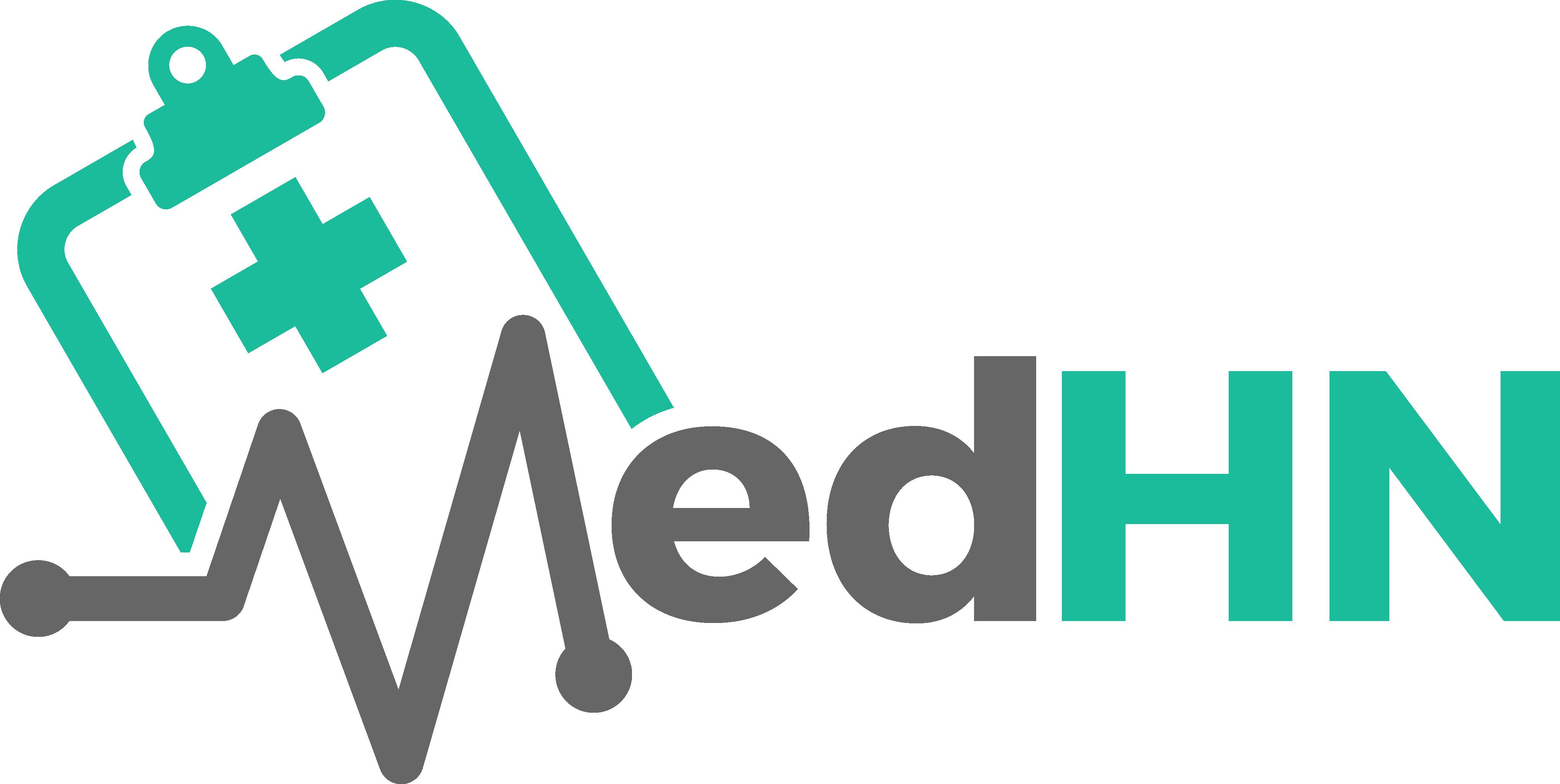 Create a modern healthcare platform logo for MedHN
