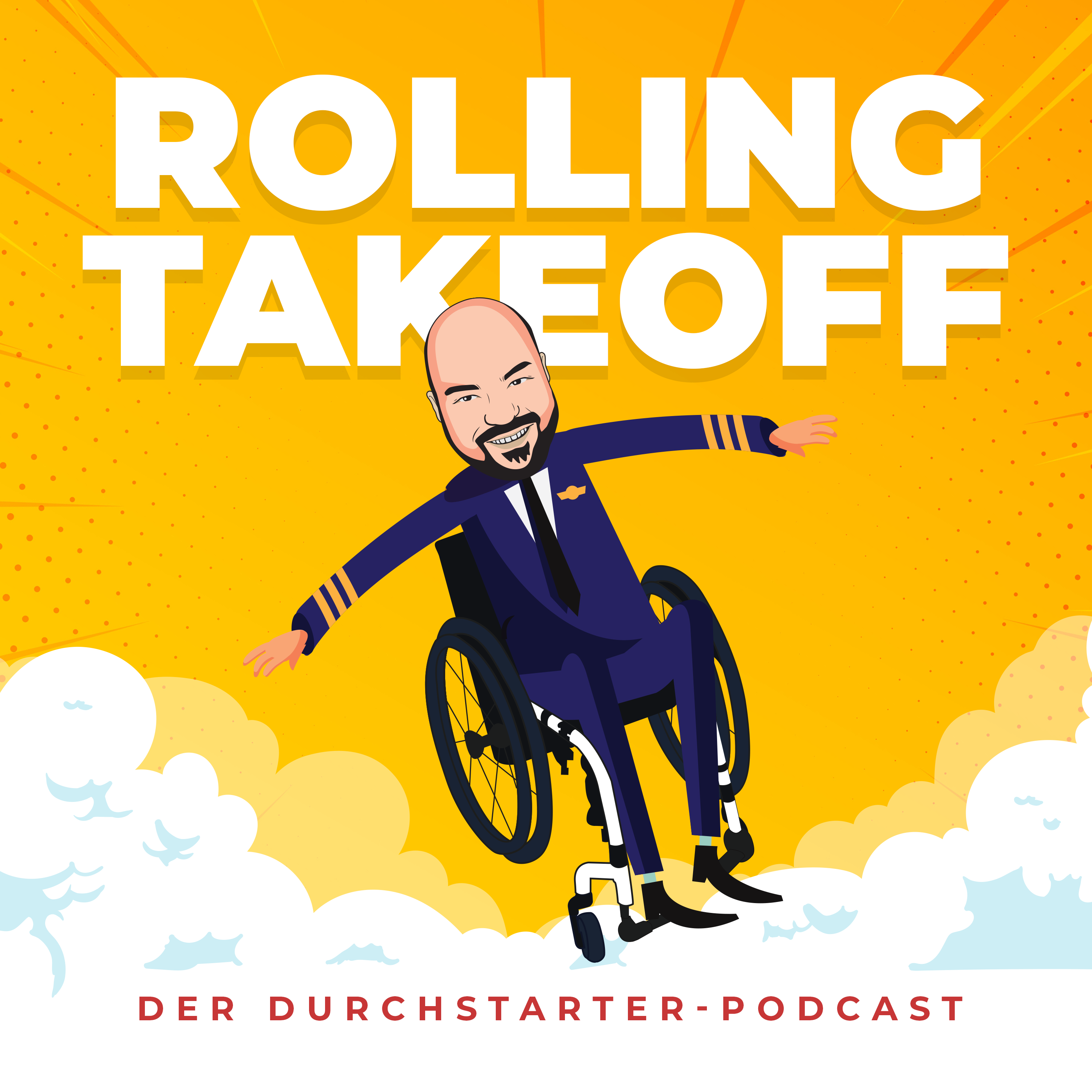 Pop art style podcast cover with a flying wheelchair