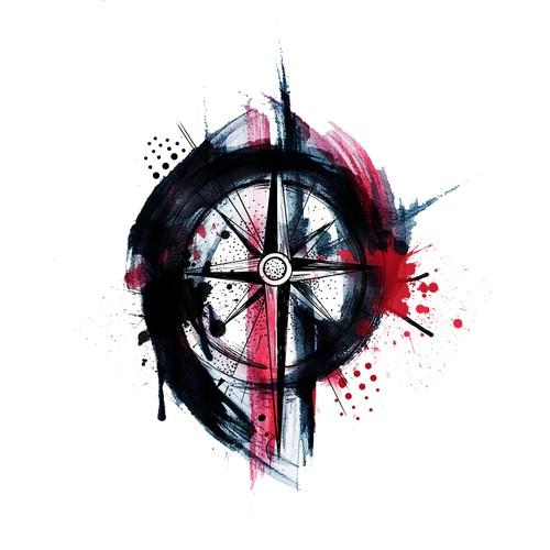 Trash Polka Compass Tattoo Design