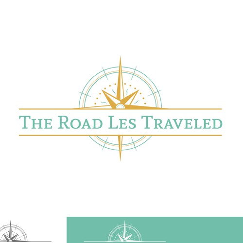 Create a unique luxury-adventure logo for The Road Les Traveled