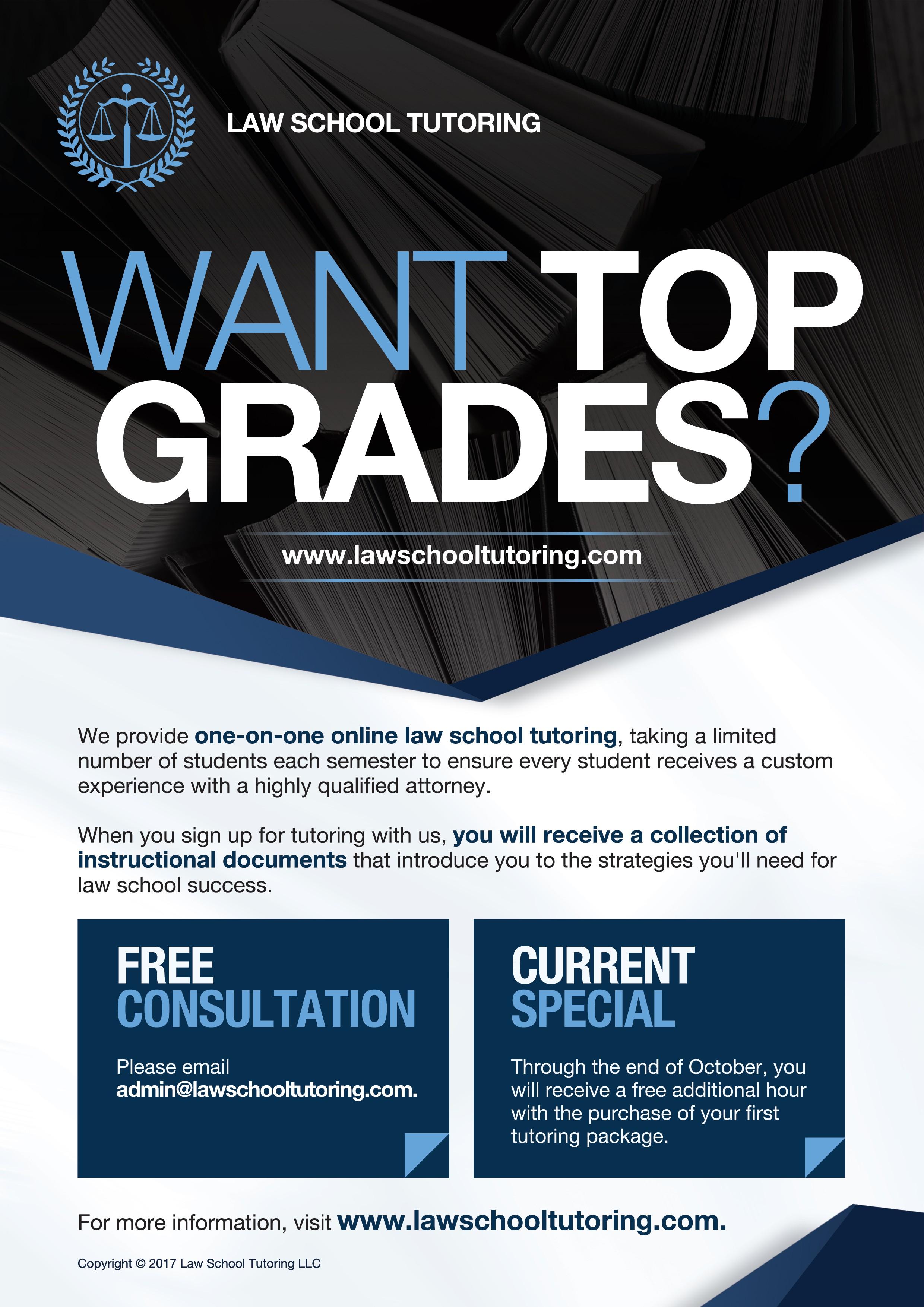 Design an eye-catching flyer for www.lawschooltutoring.com