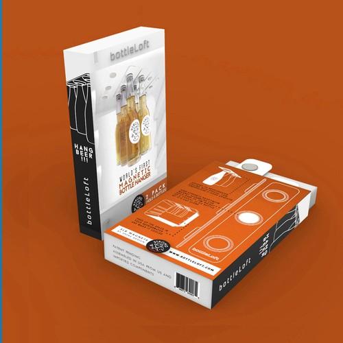 Retail packaging design for bottleLoft magnetic bottle hanger