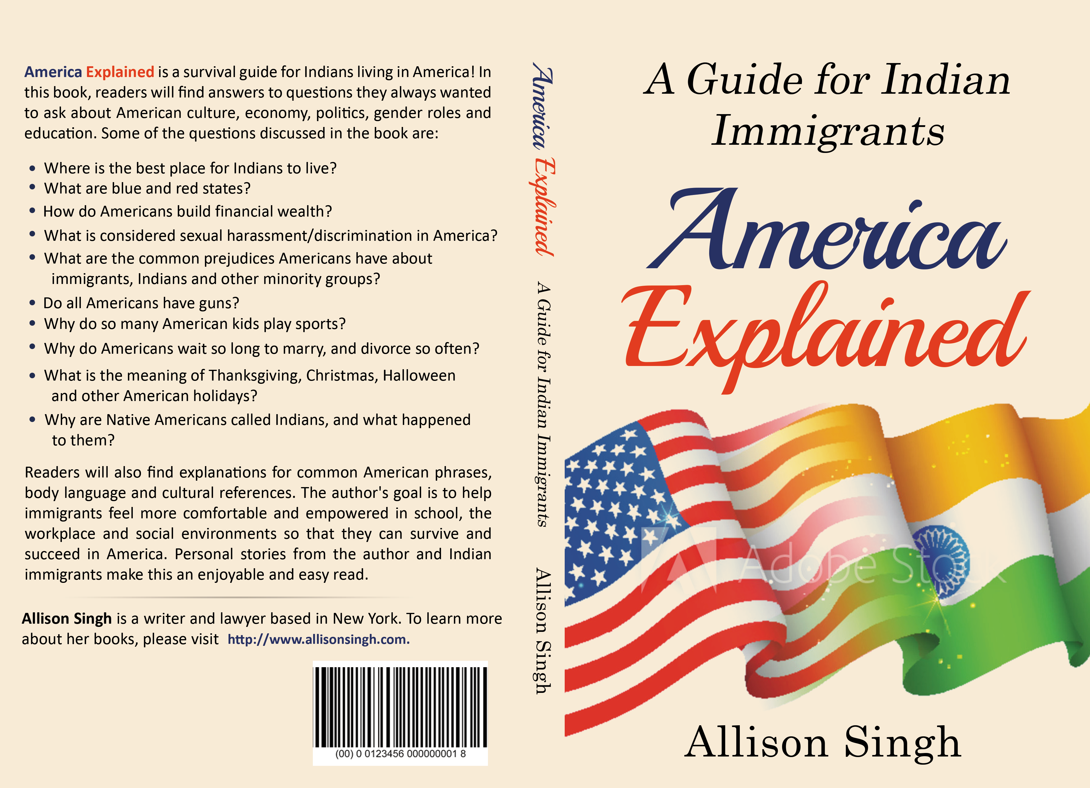 Design a book cover blending Indian and American elements for guide for immigrants