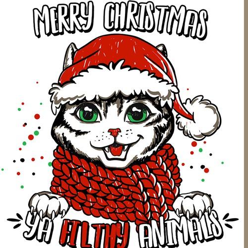 Merry Christmas Cat Theme Illustration