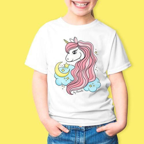 Cute unicorn design for children t-shirts