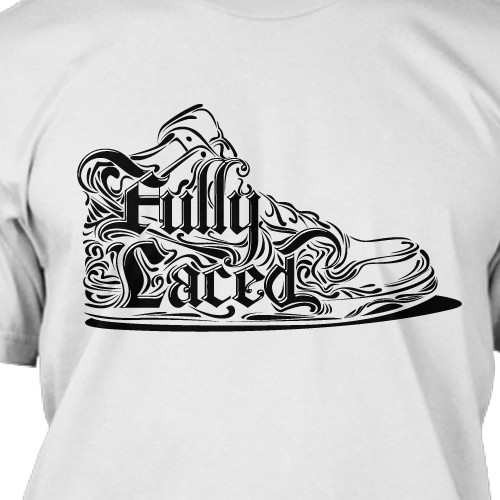 Create a timeless, darker tshirt graphic focusing on typography and linework for a streetwear brand.