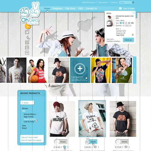 Website design for OhTwo Graphic Tees