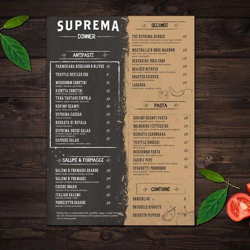 NYC restaurant menu
