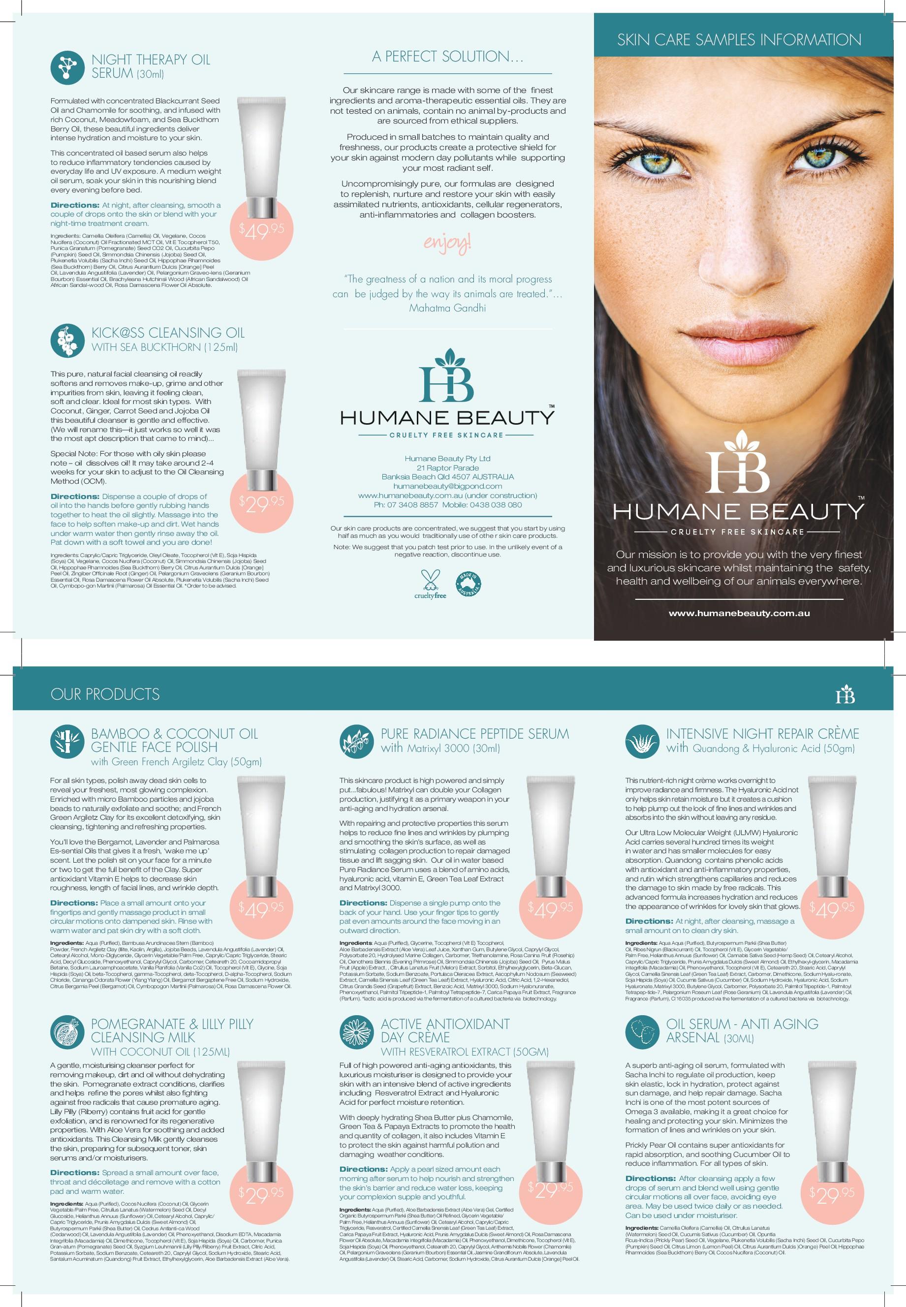 UPDATED: Humane Beauty New Product Tri-Fold Brochure