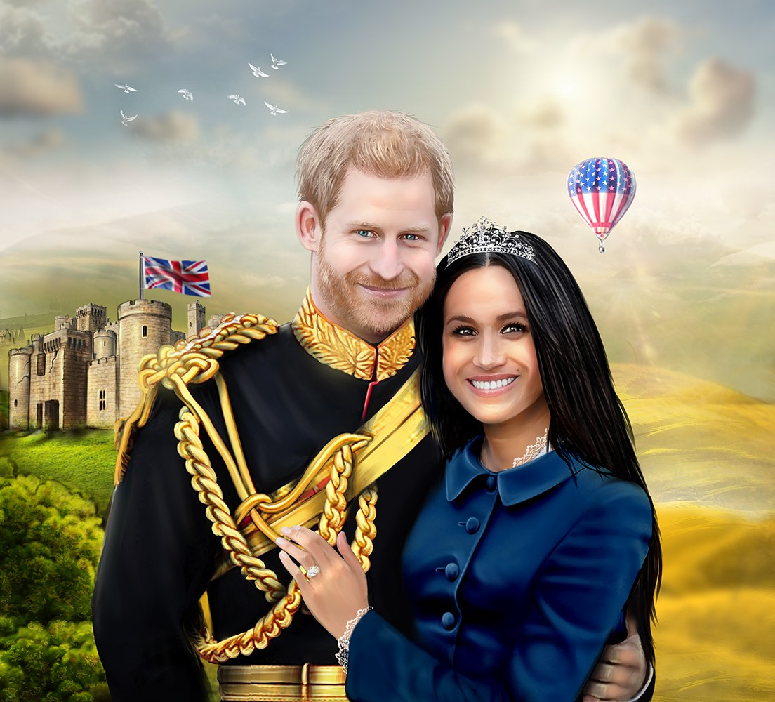 Photorealistic drawing of Prince Harry & Meghan Markle