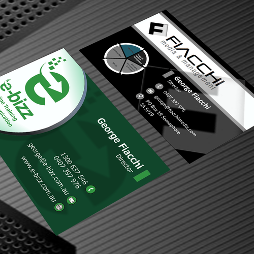 create a two sided business card, professional and progressive