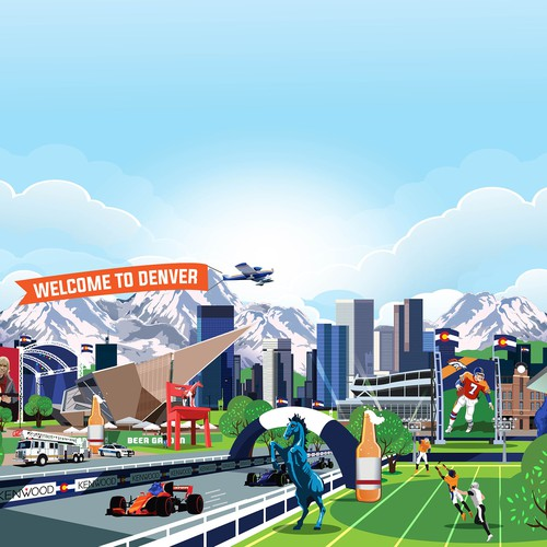 "Illustrate a ""Where's Waldo-style"" mural of Denver, CO with iconic city elements"