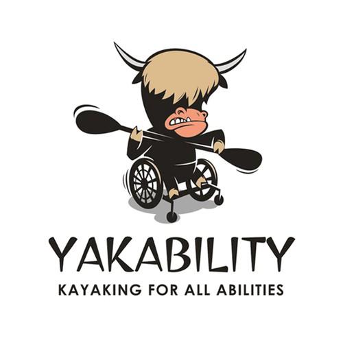 Fun, descriptive logo for kayaking with disabilities