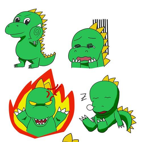 expressive dinosaur mascot and sticker for Stickzilla