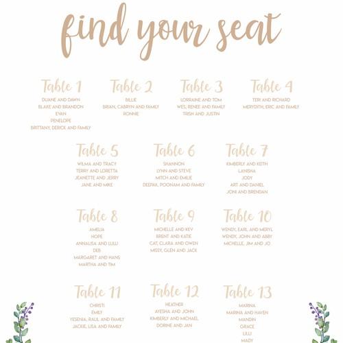 Wedding seat chart