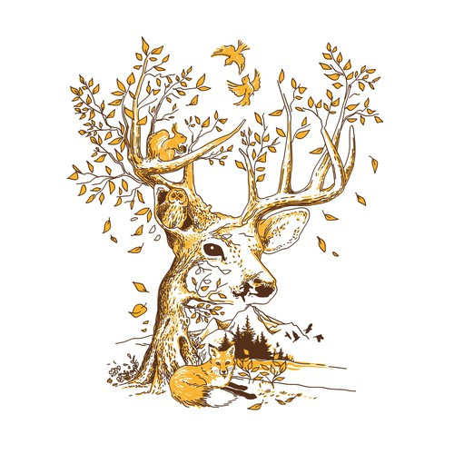 Deer & Nature Illustration - 2 colors for screenprinting