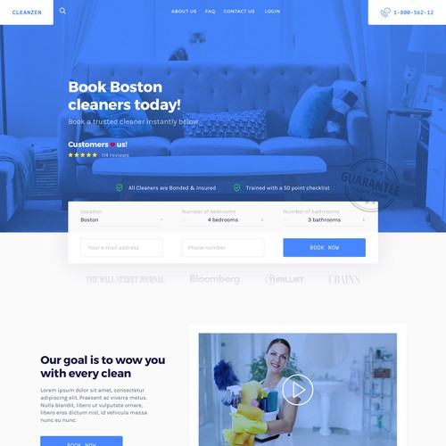 Homepage for Boston cleaning portal