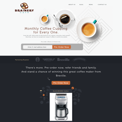 Landing page for coffee cupping website