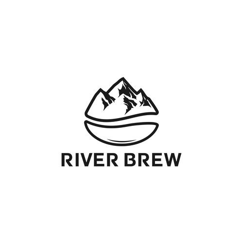bold logo concept coffee bean and river