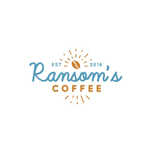 Retro handwritten script logo for coffee