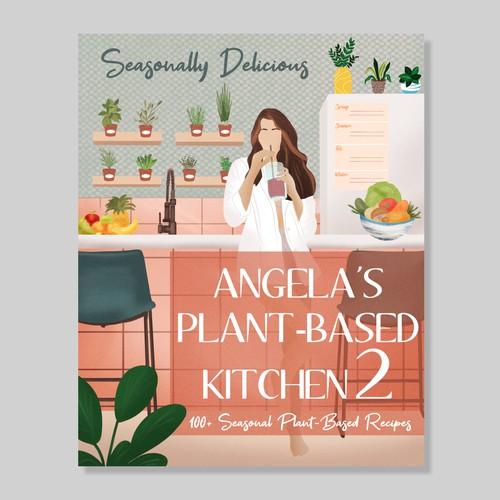Vegan Cookbook Cover Illustration - Palm Springs Vibe