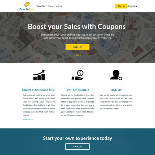 Illustrate a simple, clean and beautiful start page for DoubleSale