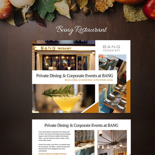 Private Dining & Corporate Events Brochure design for Restaurant