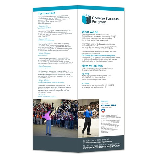 Need An Awesome Brochure to attract school to hire motivational speakers for their students
