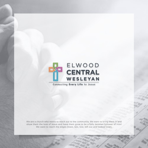 Simple and modern logo for Elwood Central Wesleyan