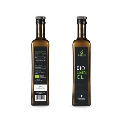Classio Organics Leinöl Label design