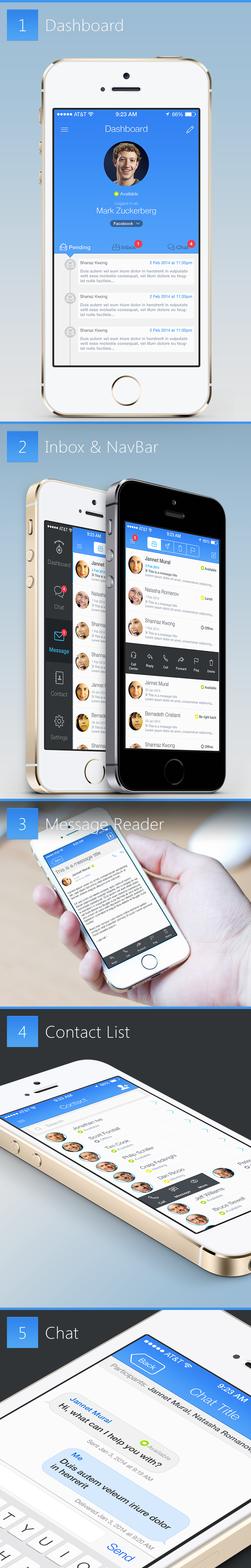 User interface (UI) design for business/messaging application